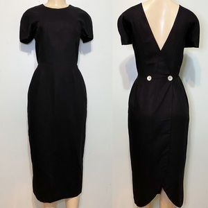 Vintage Spectator New York Black Button Midi Dress